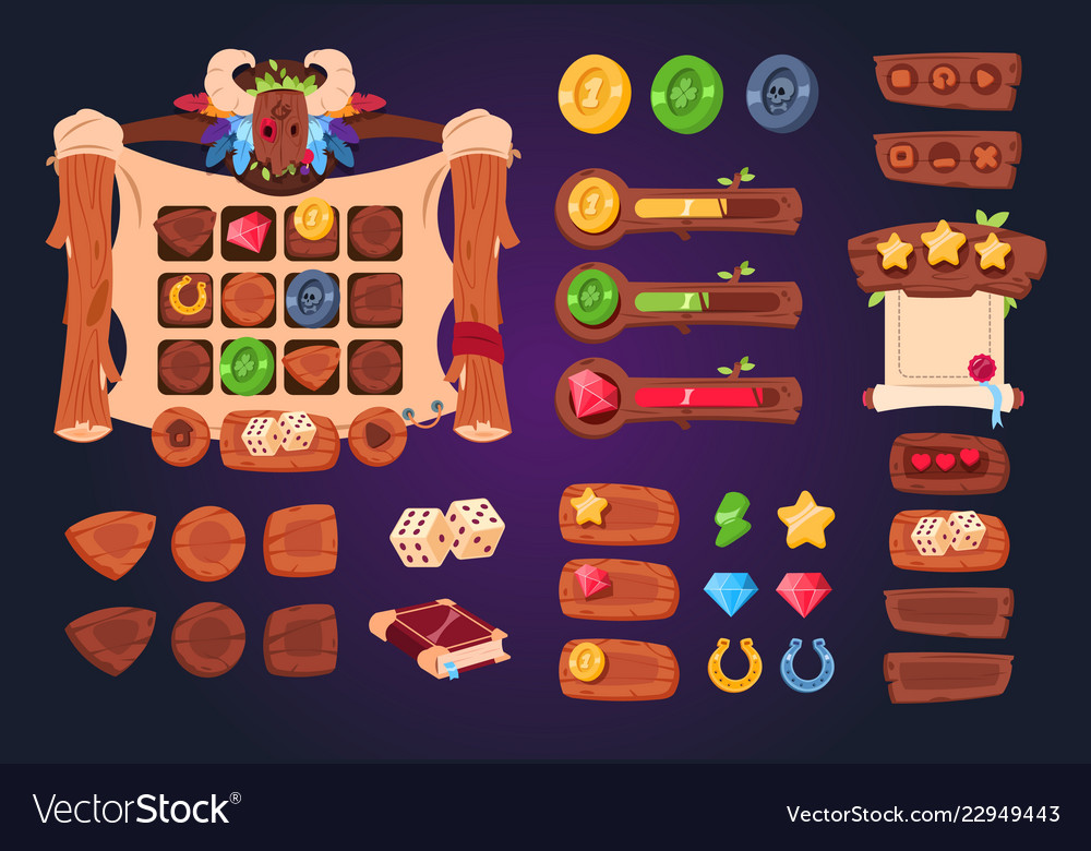 Cartoon game ui wooden buttons sliders and icons