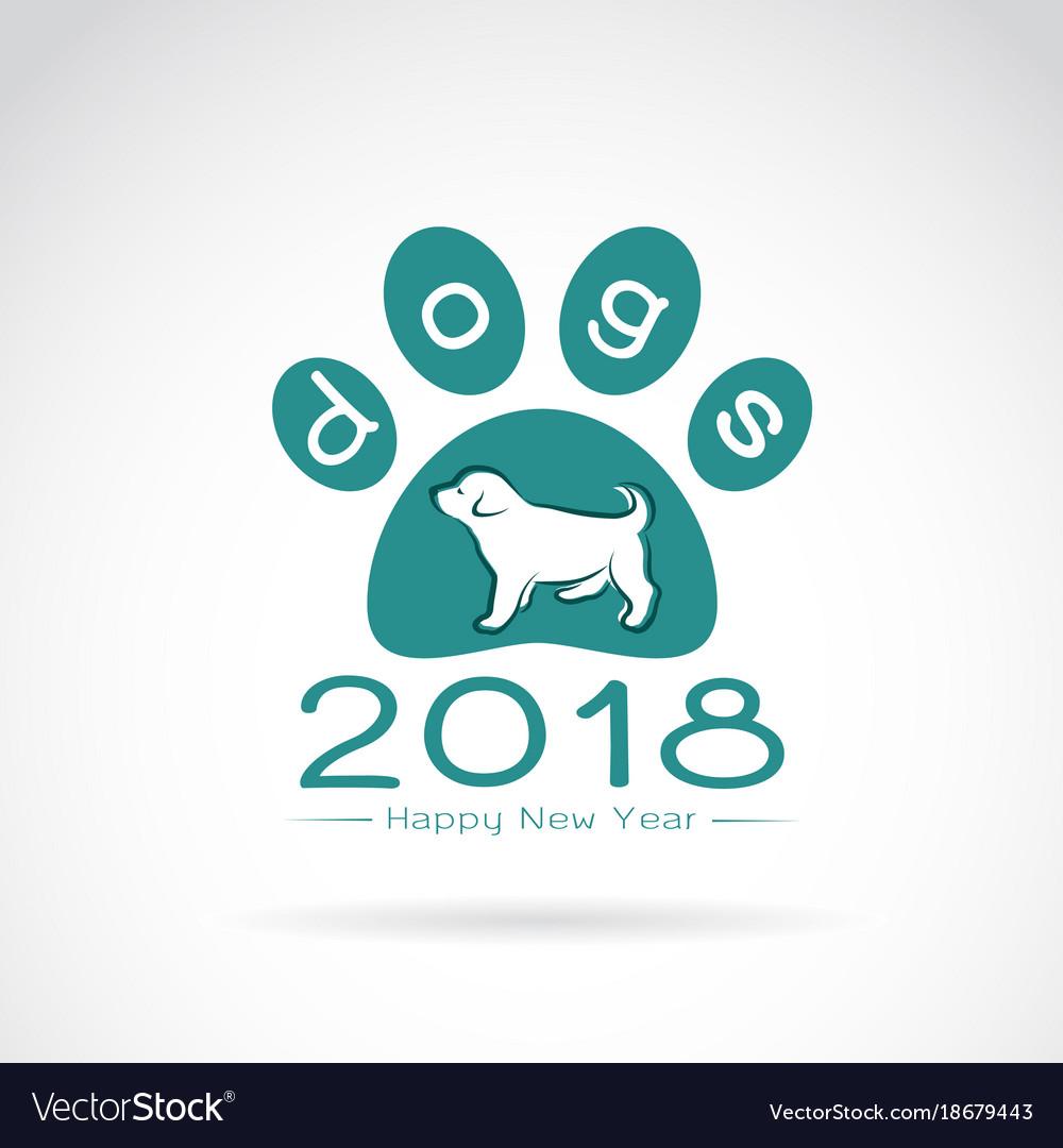 Dog 2018 new year card logo dog
