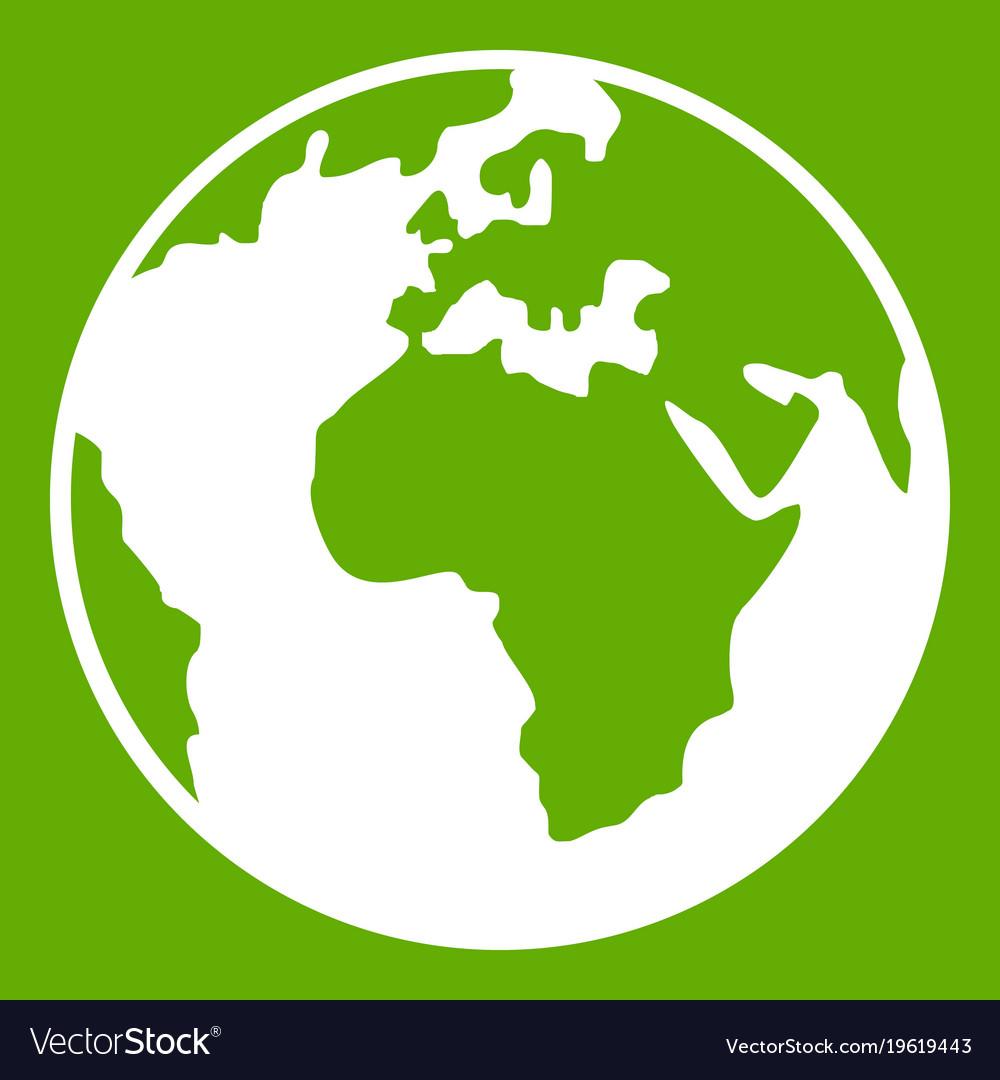 Earth Globe Icon Green Royalty Free Vector Image