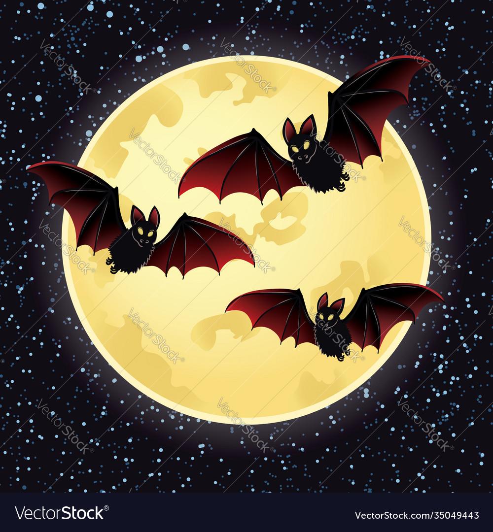 Halloween night with bats flying over moon