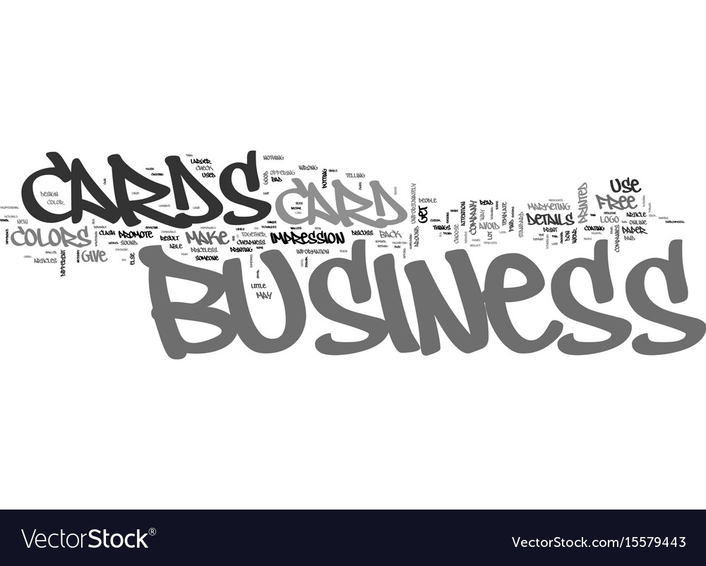 What not to do with your business cards text word vector image colourmoves