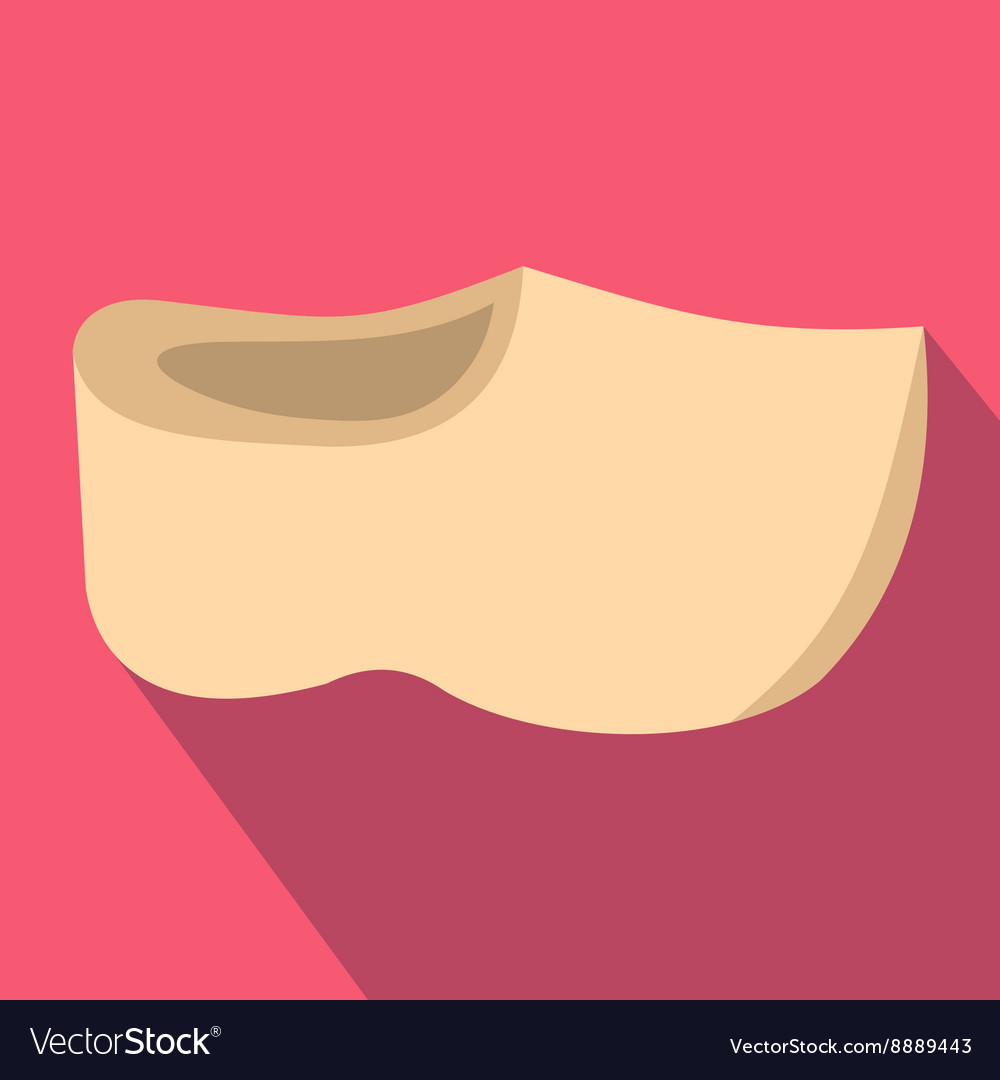Wooden shoes icon flat style