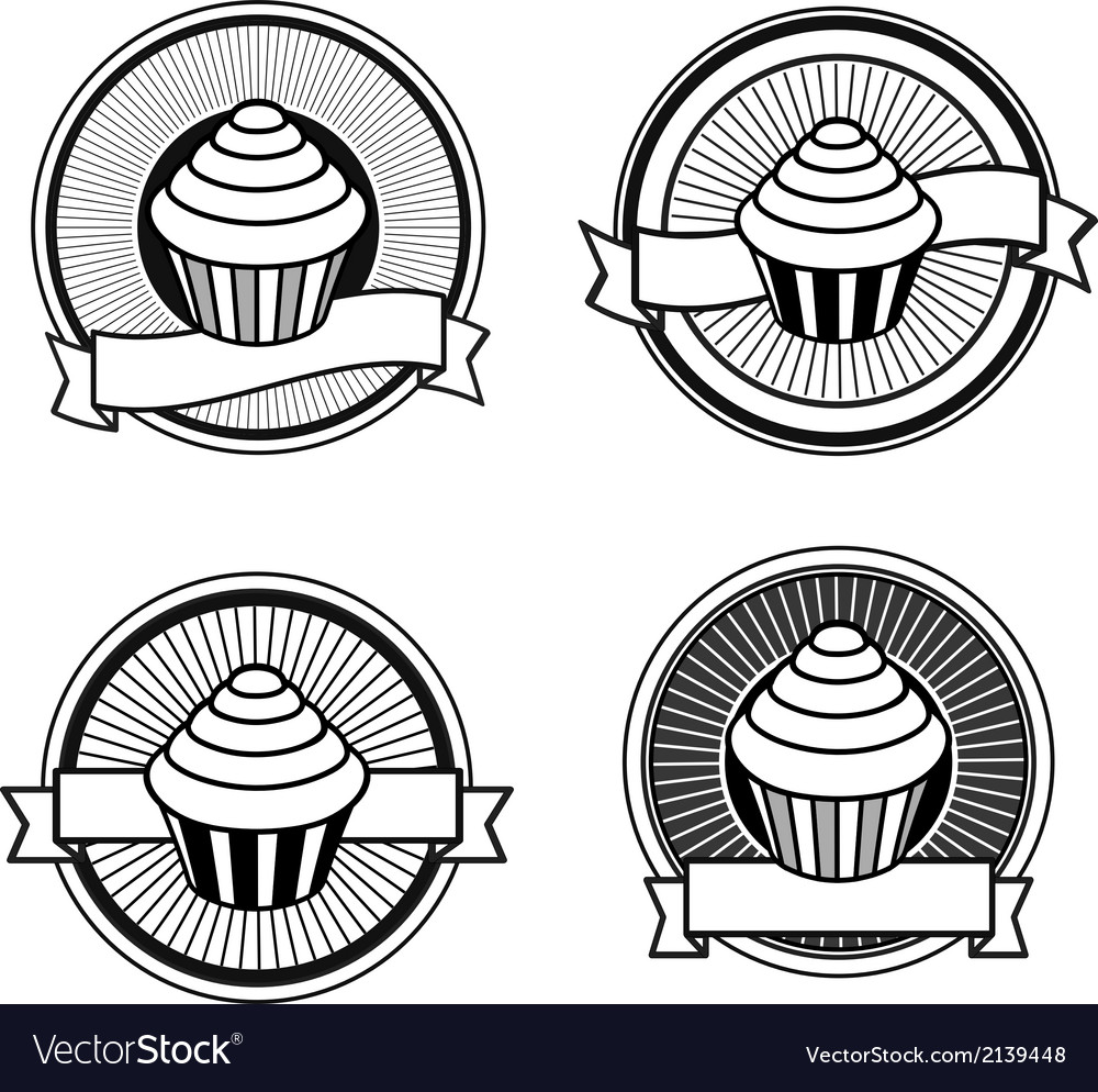 Black and white retro cupcake stamps
