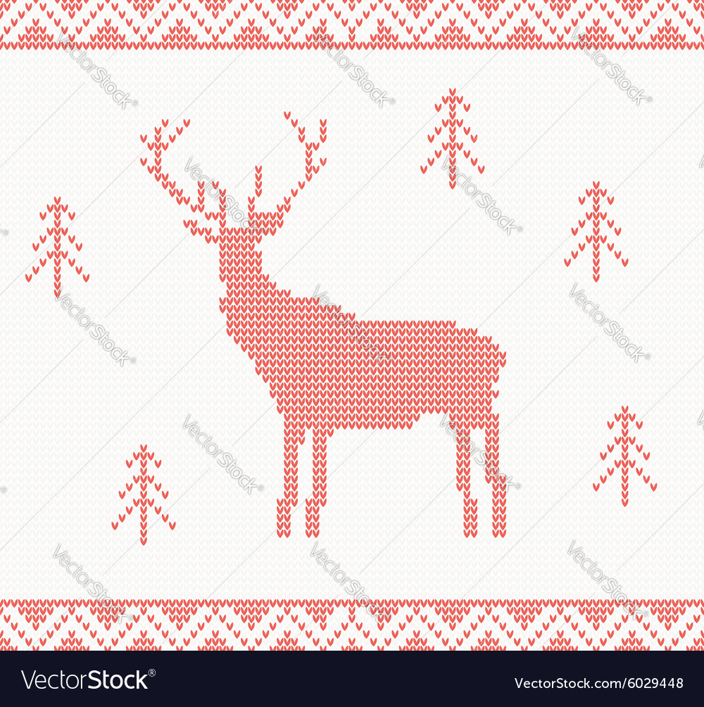 Christmas Knitted background with deer