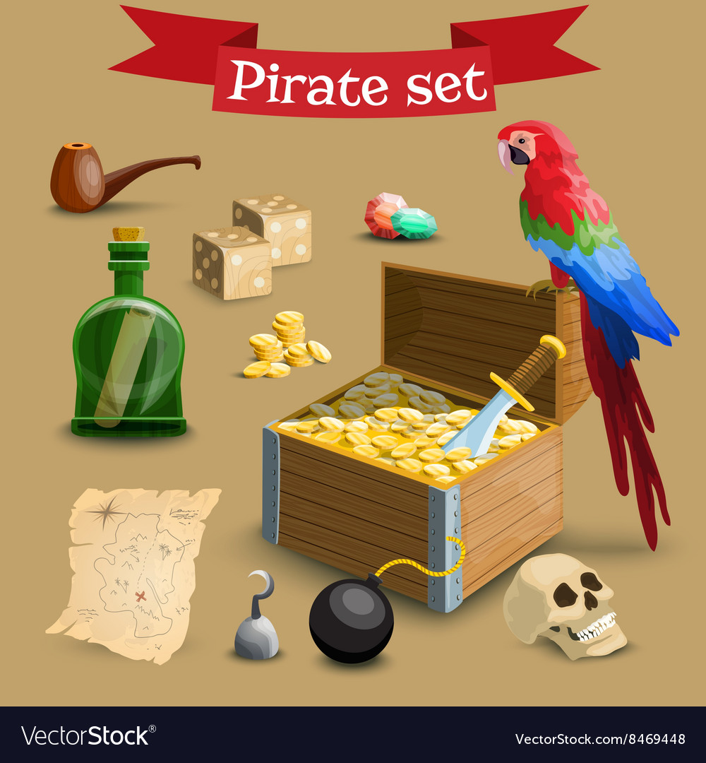 Collection of pirate vector image