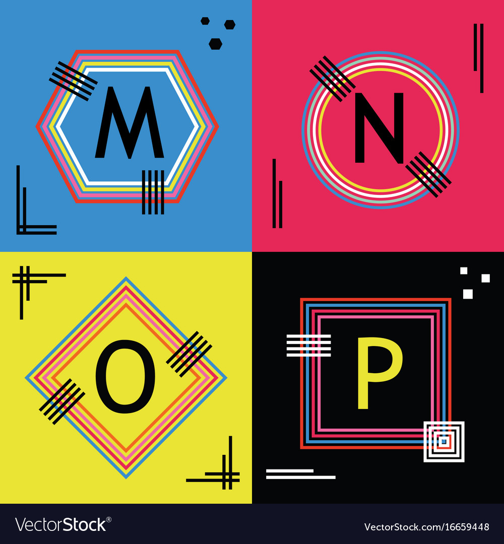 Colorful capital letters m n o and p line emblems