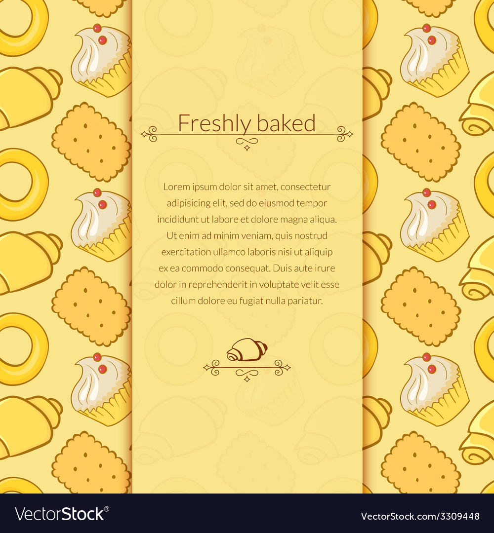Delicious pastries in doodle style with place for