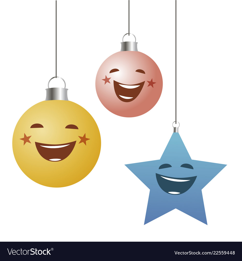 Funny christmas ornaments balls and star hanging
