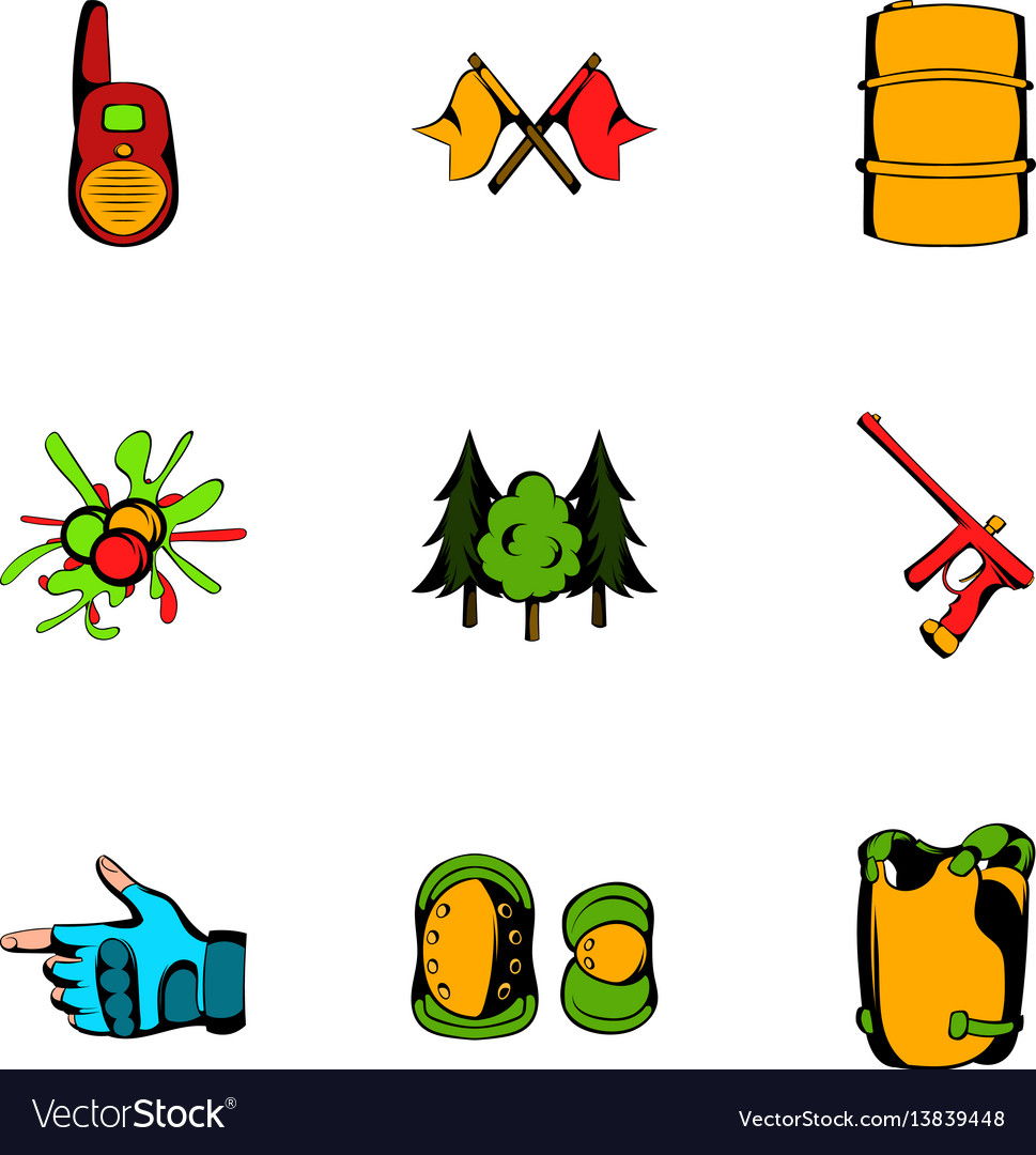 Play icons set cartoon style