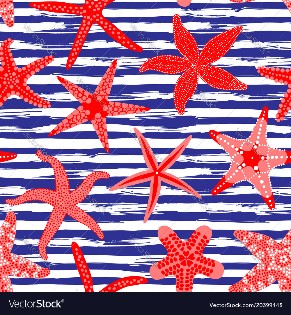 Sea stars seamless pattern marine backgrounds