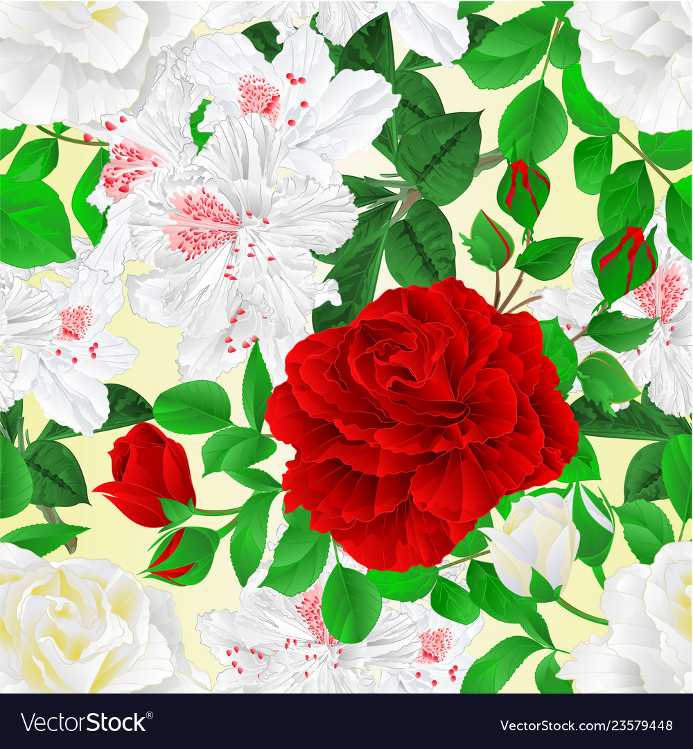 Seamless texture white and red roses with buds