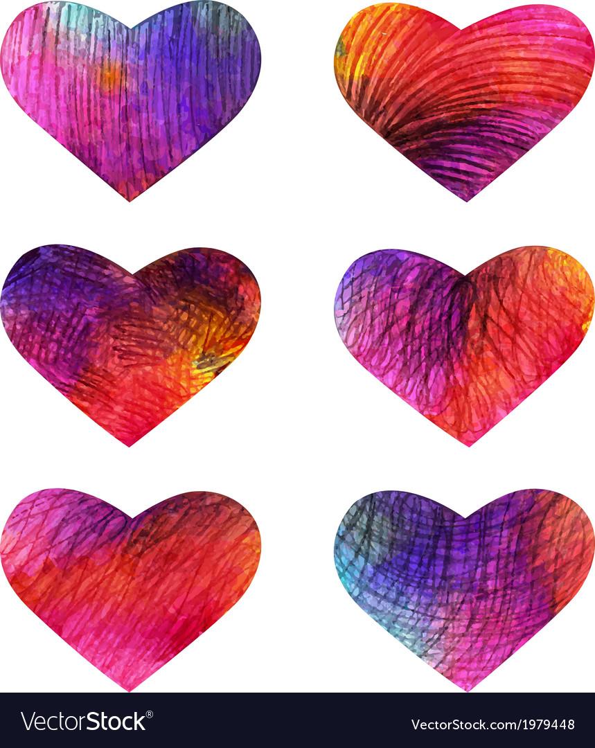 Set colorful hearts eps 10