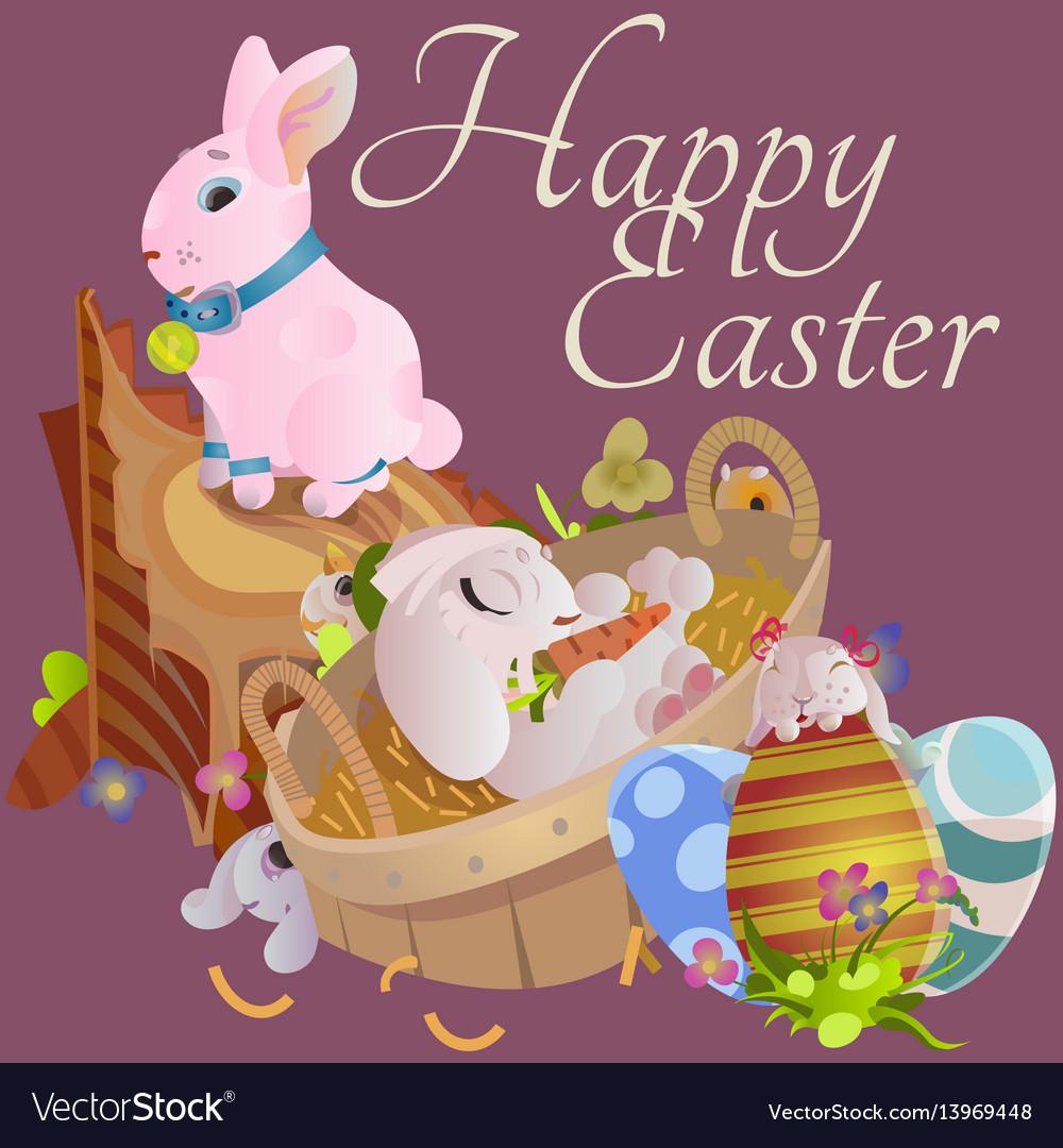 Set easter chocolate egg hunt bunny basket on