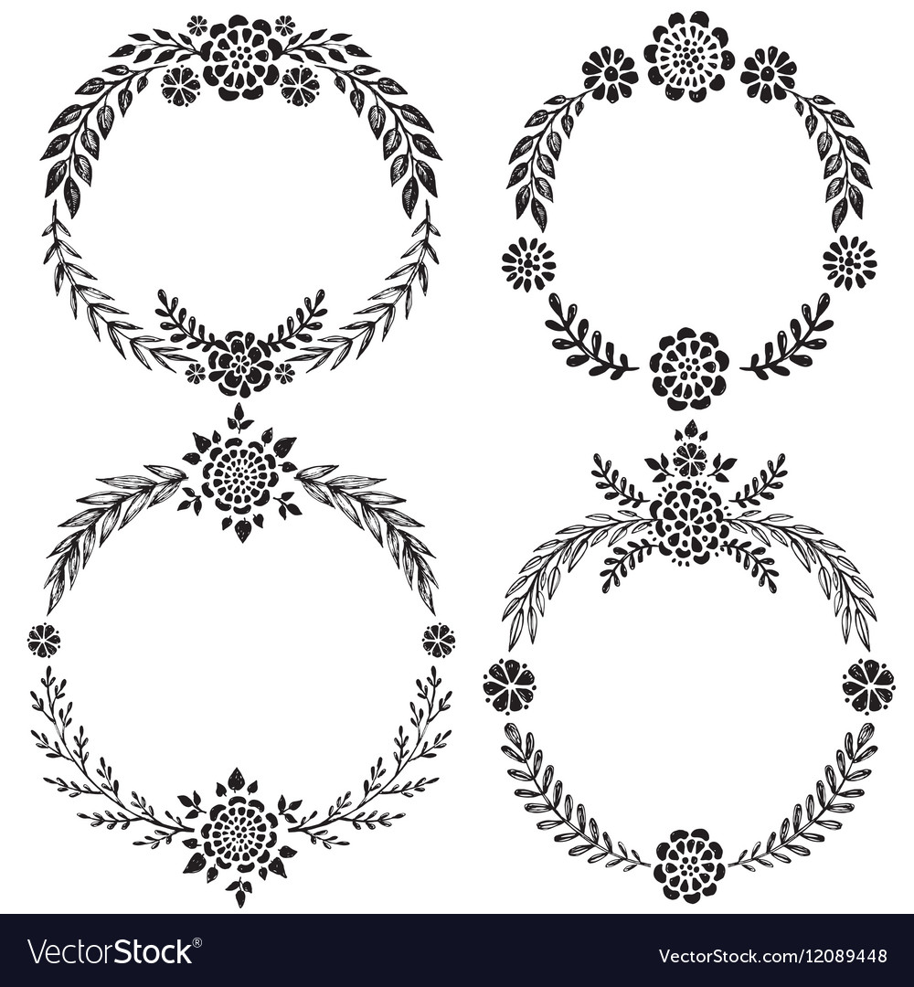 Set of hand drawn floral wreaths with