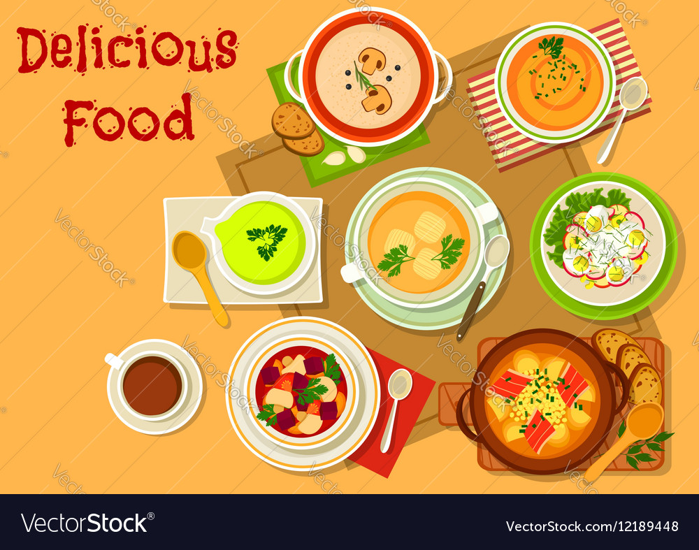 Soup and salad dishes icon for menu design