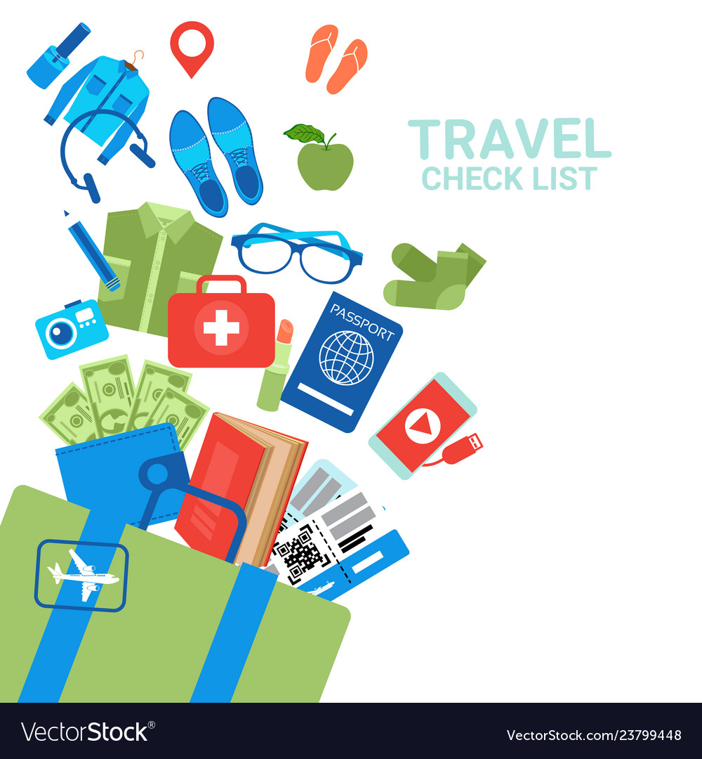 Travel check list background luggage icons on