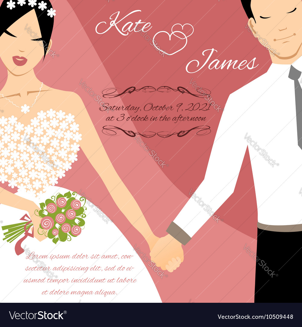 Wedding couple for invitation card Royalty Free Vector Image