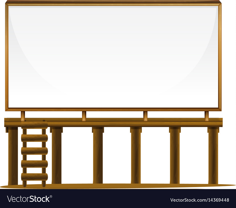 Whiteboard on wooden bar vector image
