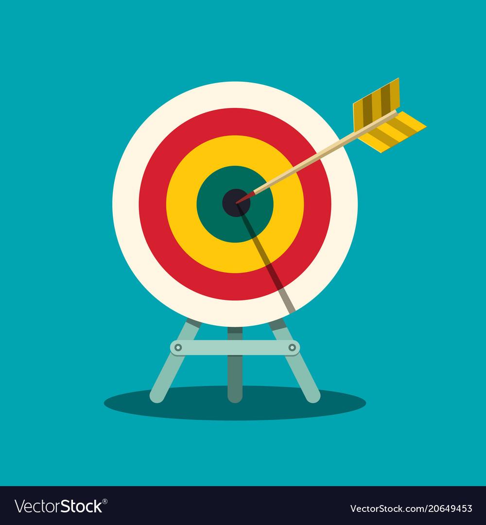 Archery Target Arrow In Centre Of Bullseye Goal Vector Image