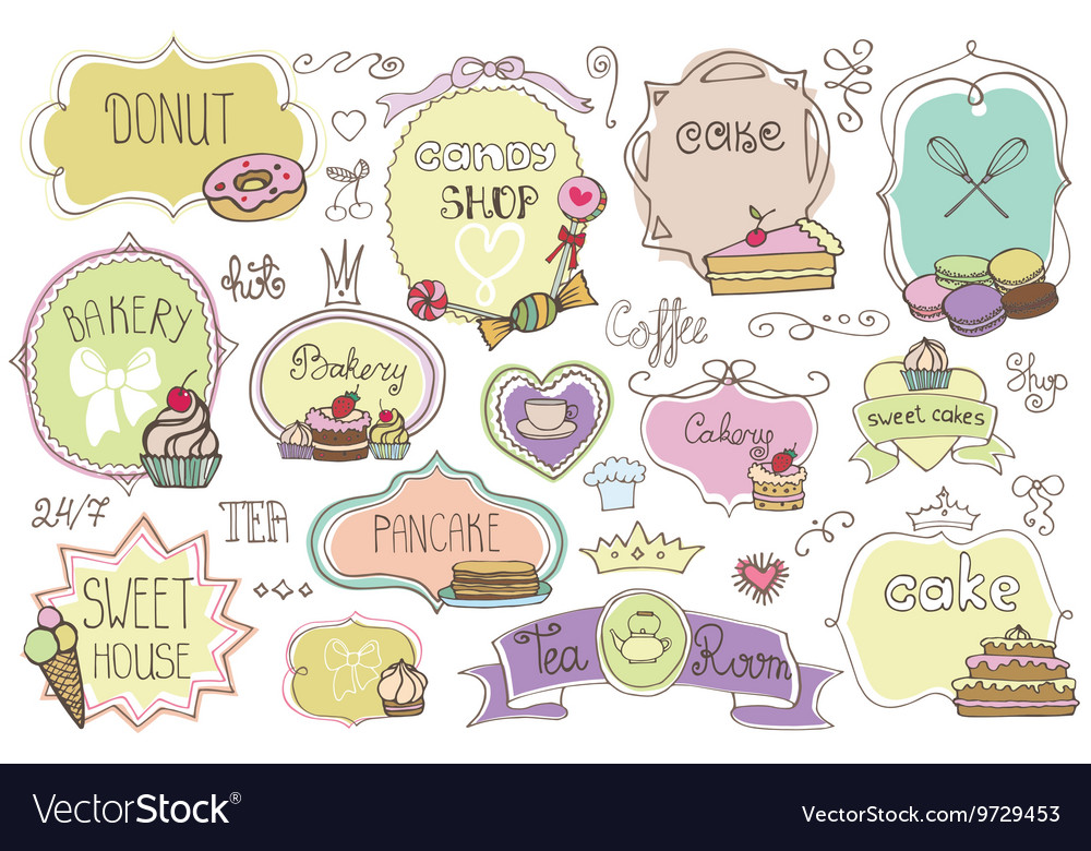 Bakery Labelsbadges setwith cakesVintage doodles