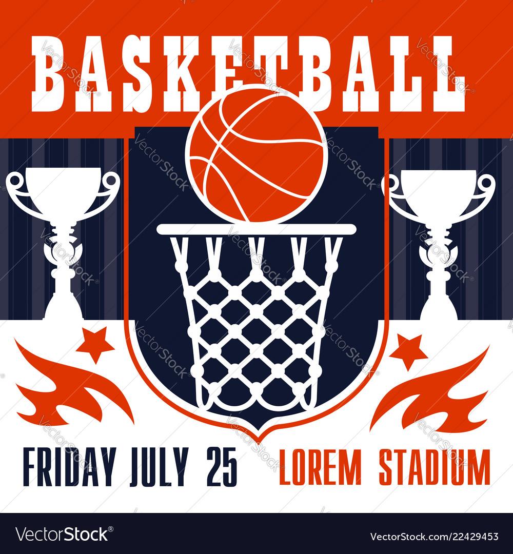 Basketball game poster basket and ball