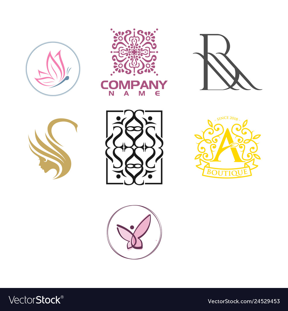 Beauty and fashion luxury logo set