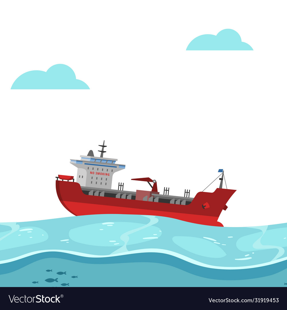 Boat floating on sea bright background blue