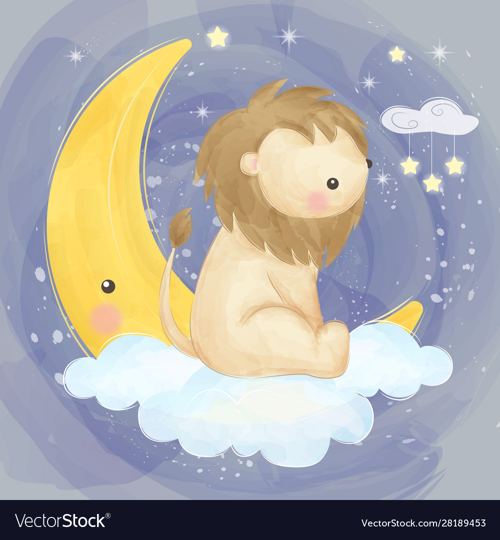 Cute lion with moon