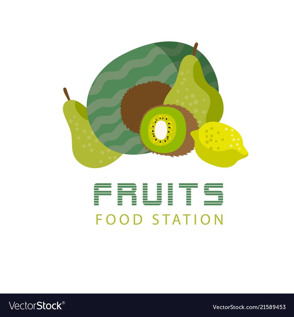Fruits food station kiwi watermelon lemon backgrou