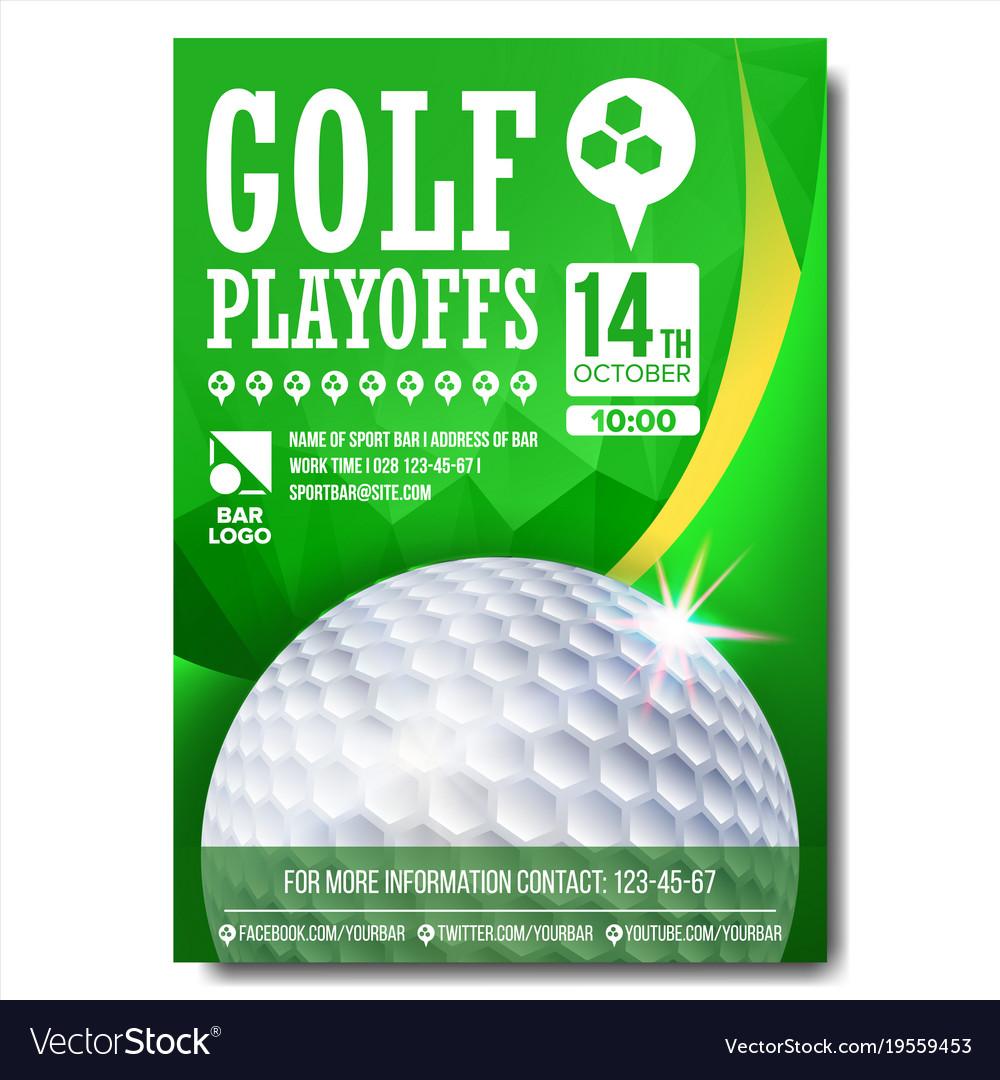 Golf Poster Design For Sport Bar Promotion Vector Image