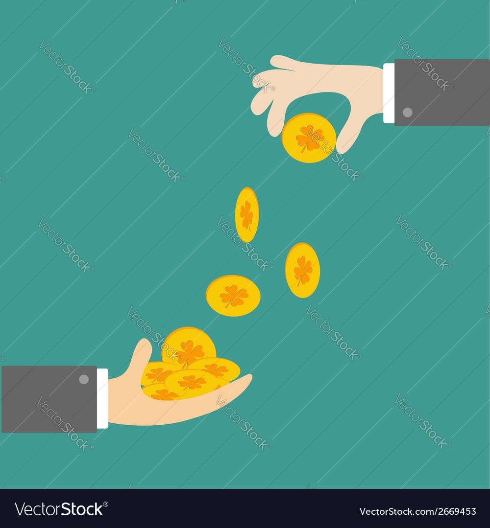 Hands giving four leaf clover gold coin Flat desig