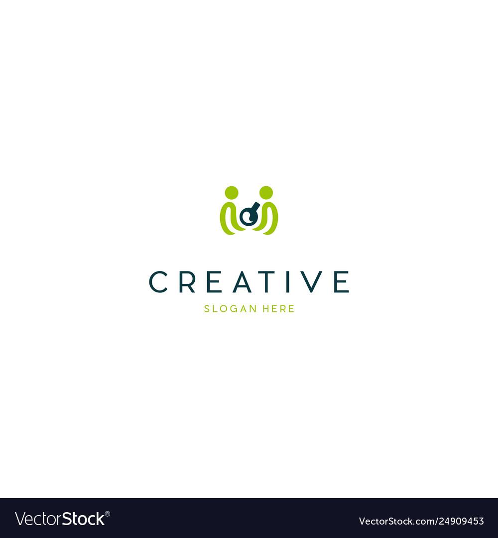 Human lab science creative technology logo design vector image