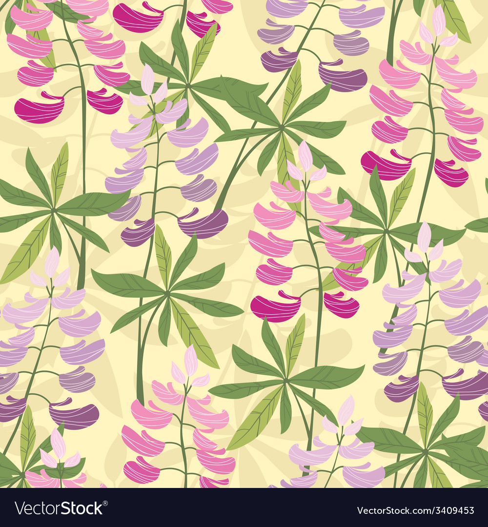 Seamless floral lupine pattern