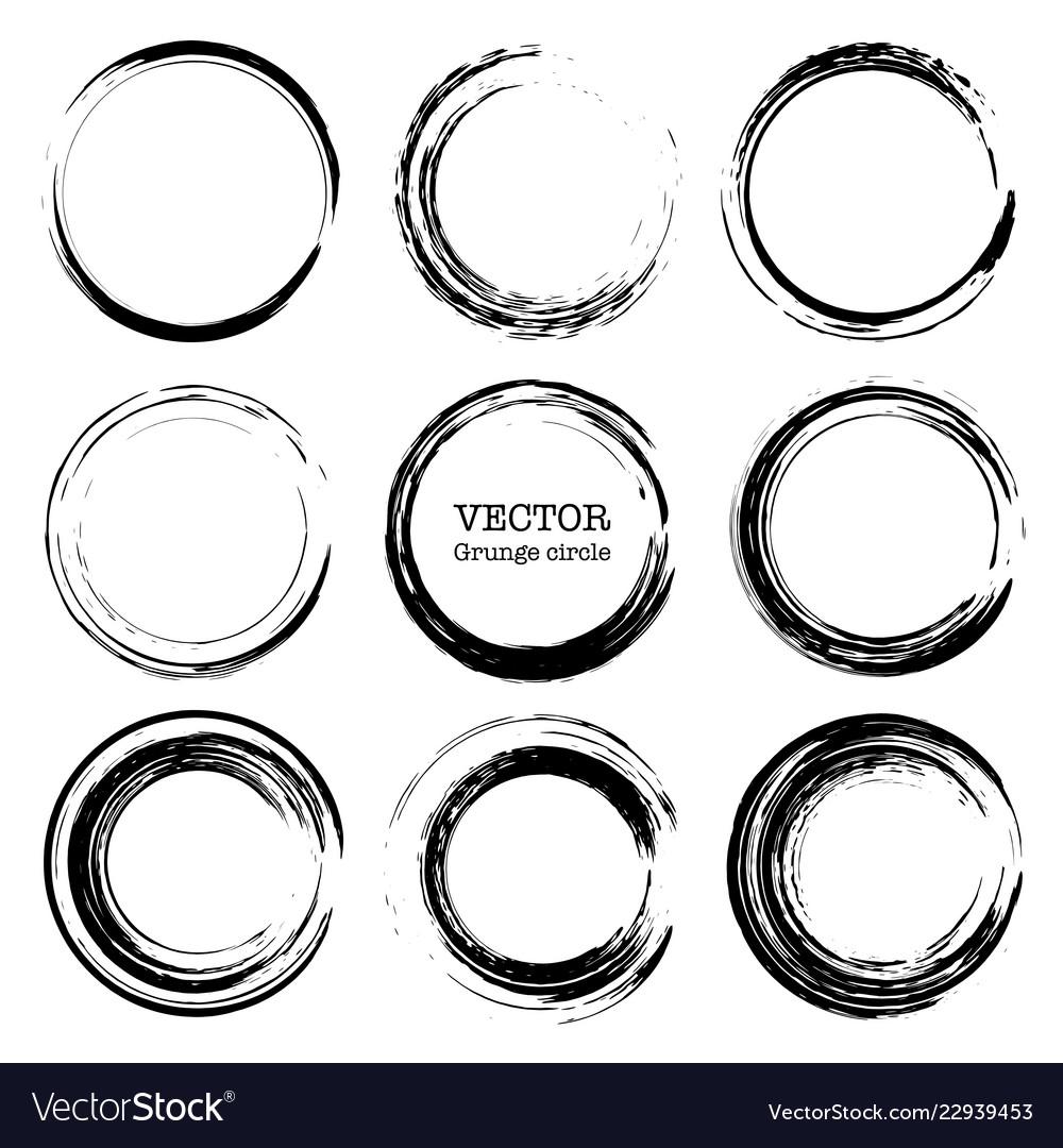 Set of grunge circles round shapes