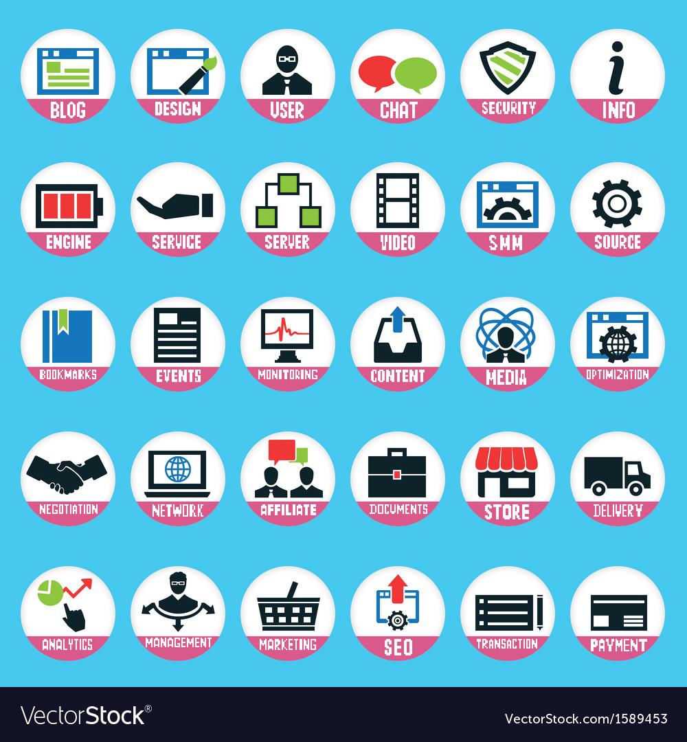 Set of pixel internet marketing service icons