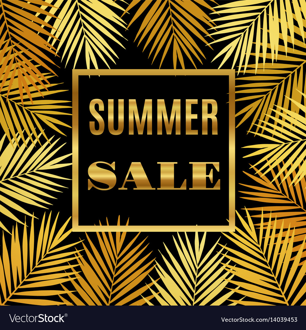 Summer sale background with gold palms