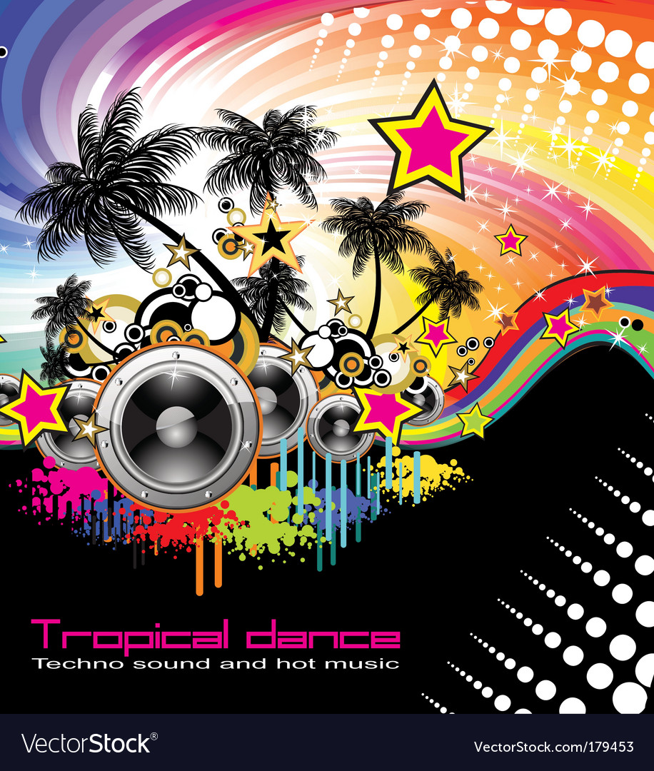 Tropical dance music flyer vector image