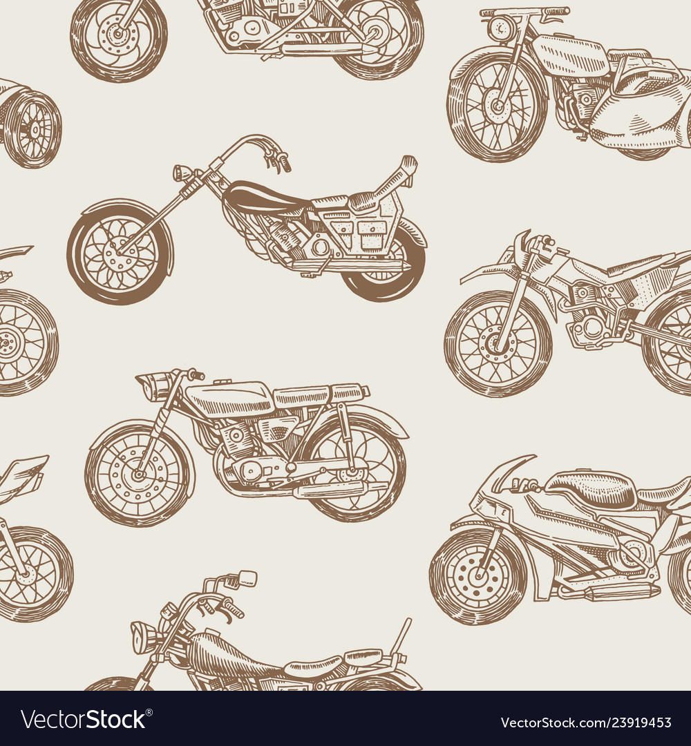 Vintage motorcycles seamless pattern bicycle