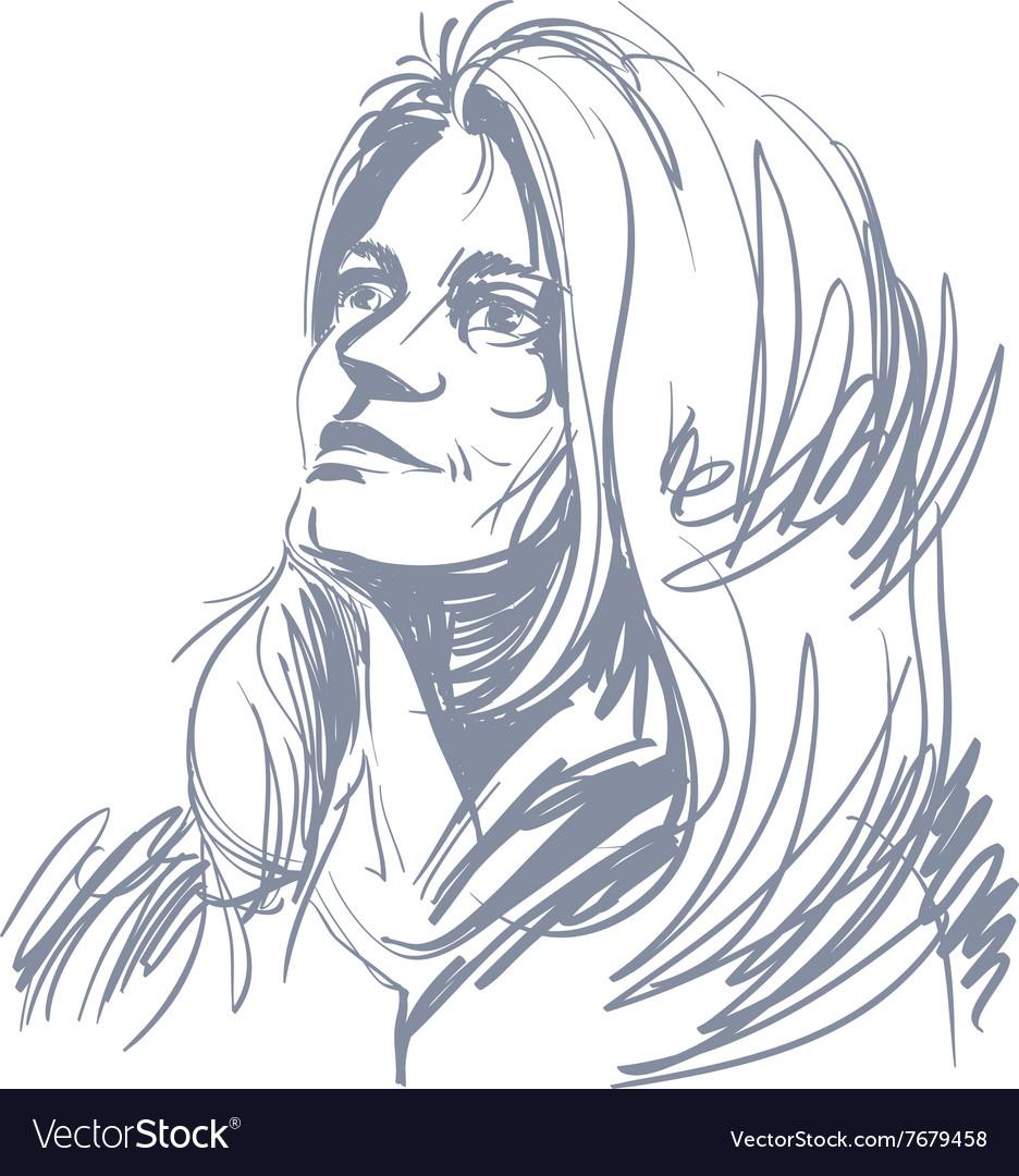 Art drawing portrait of gorgeous romantic girl