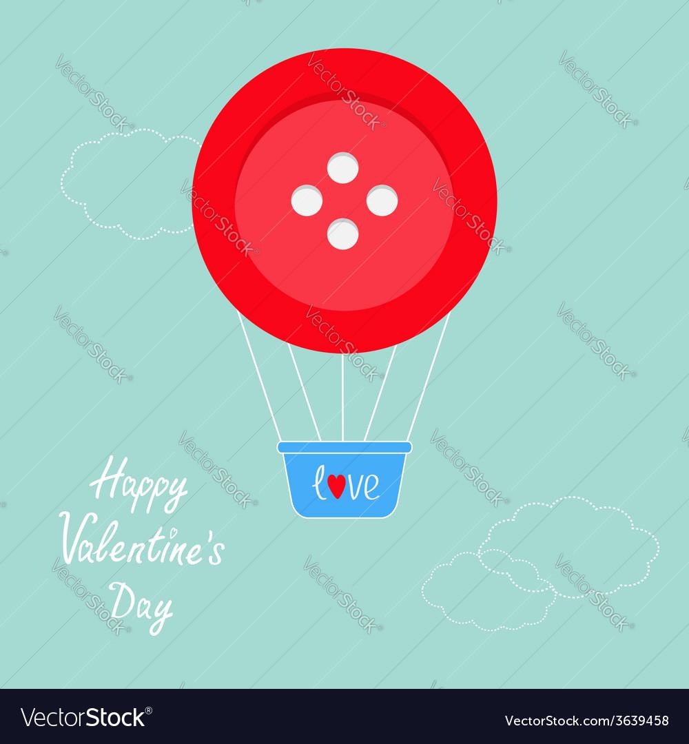 Big red button hot air balloon Dash line clouds