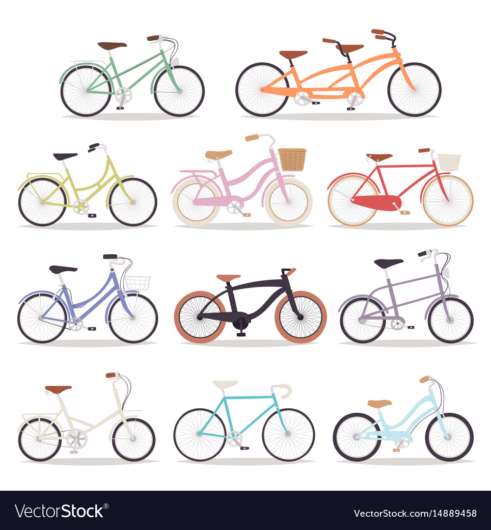 Collection of realistic bicycles vintage