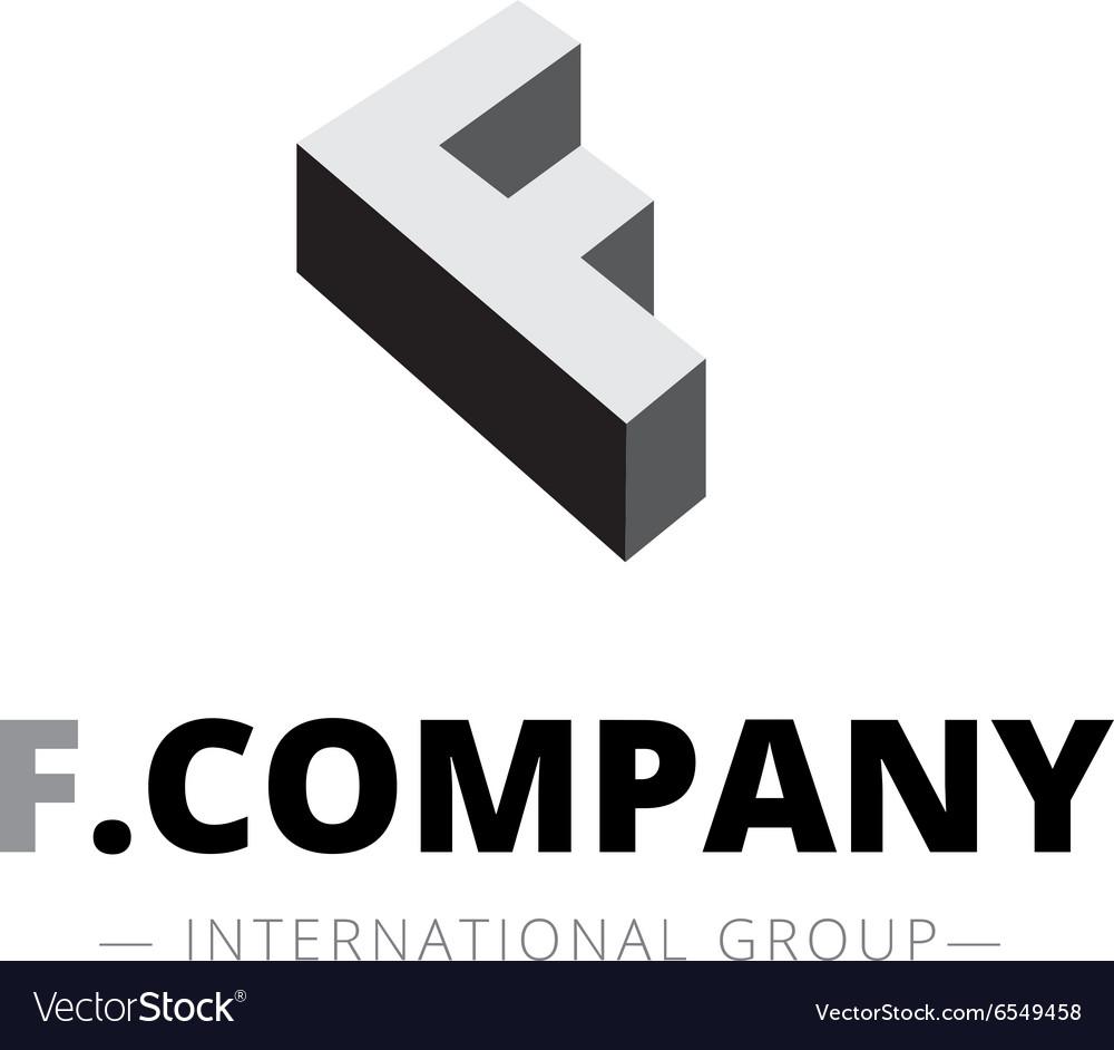Isometric monochrome F letter logo Company vector image