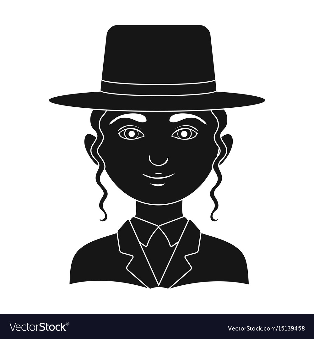 Jewhuman race single icon in black style vector image