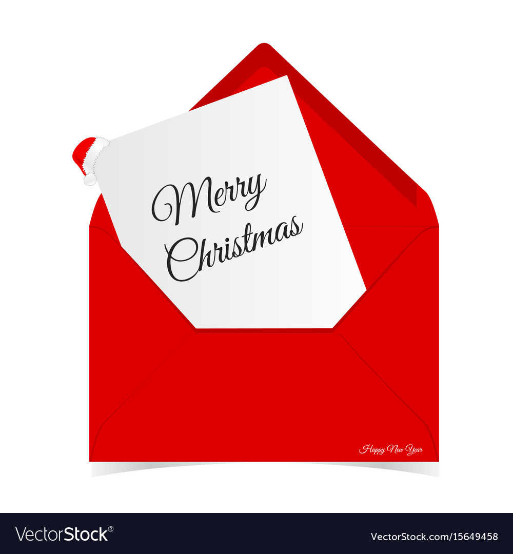 Merry christmas in red letter envelope