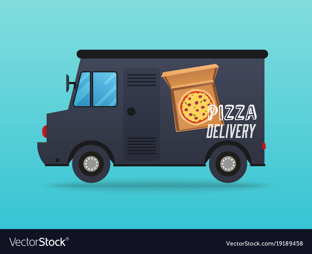 Pizza delivery local delivery van flat design