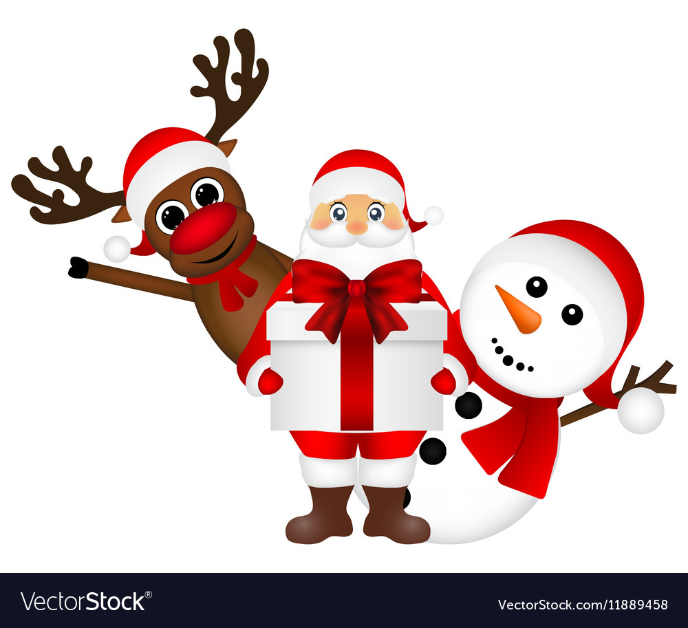 Santa Claus With Snowman And Reindeer Cartoon Vector Image Choose from over a million free vectors, clipart graphics, vector art images, design templates, and illustrations created by artists worldwide! vectorstock