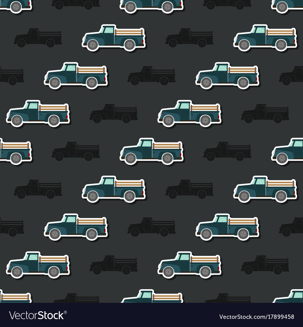 Seamless pattern with farm truck