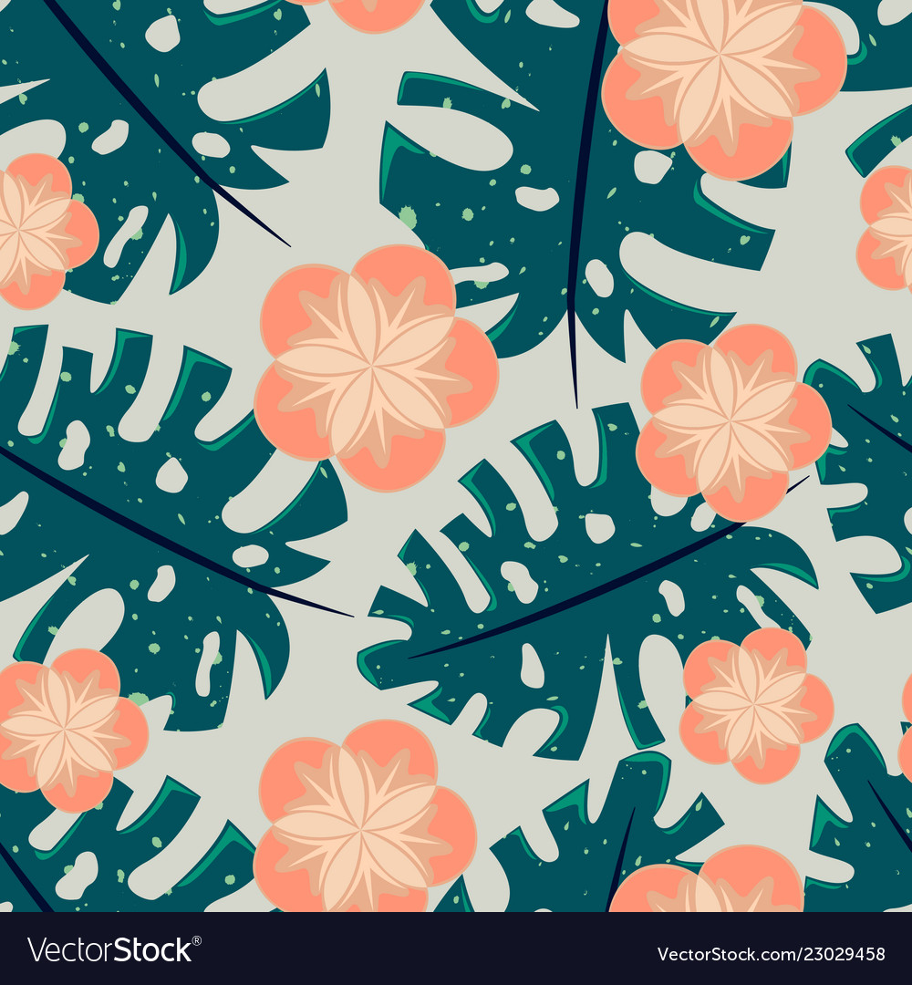 Seamless tropical pattern with flowers