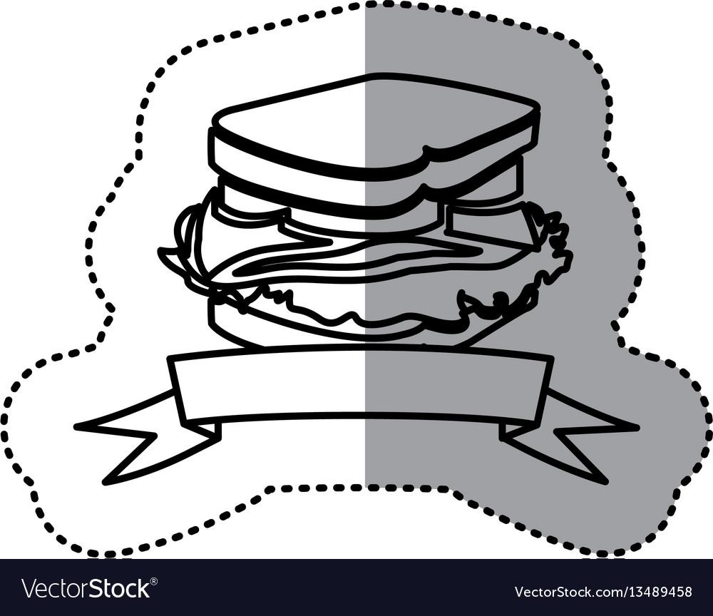 Sticker black contour of sandwich with ribbon