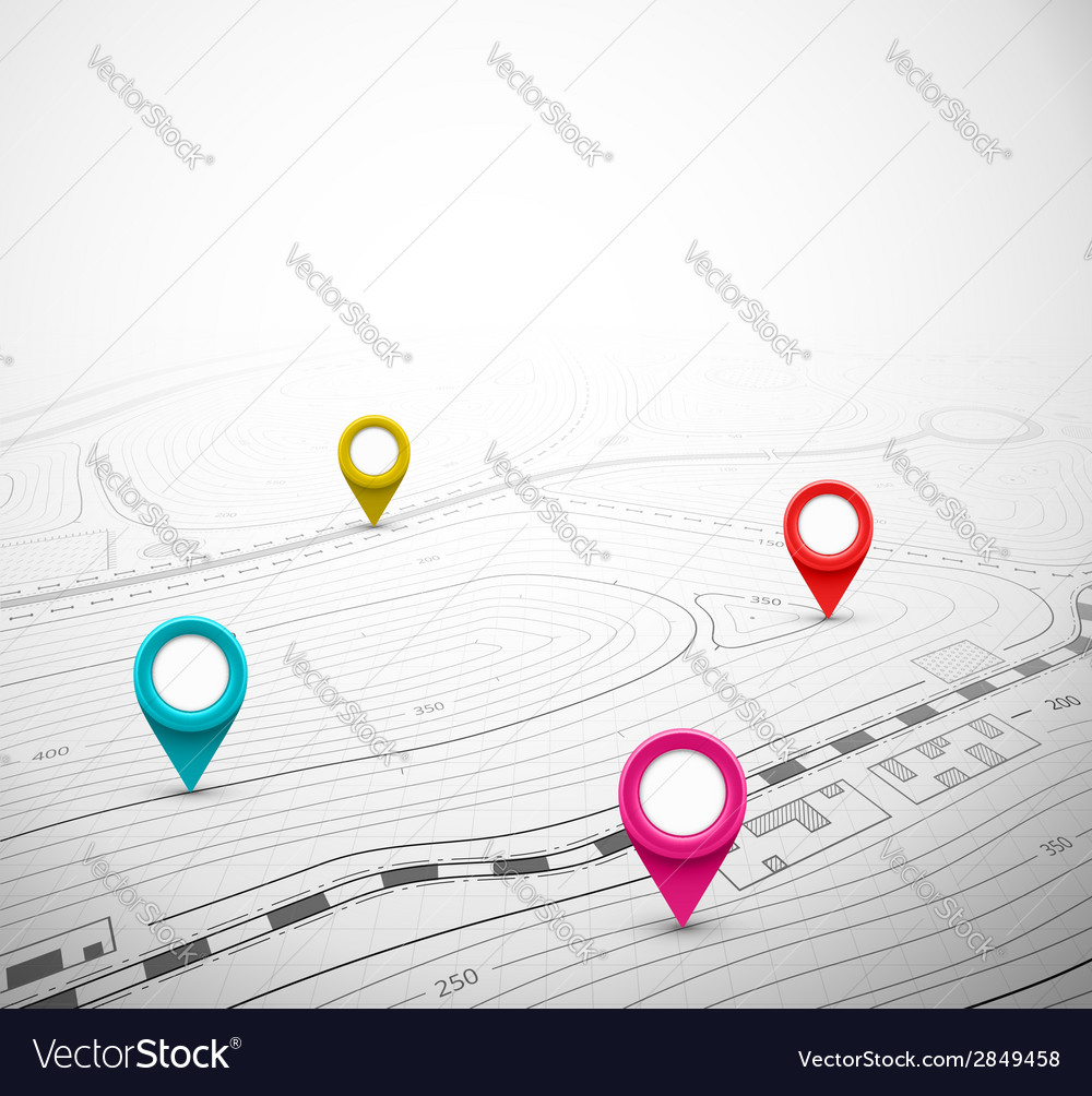 Topographic Map with Pin vector image